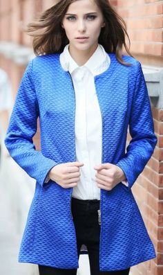 Long sleeve round collar slimming long coat