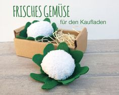 Crafts vegetables for kids shop - today: DIY cauliflower - Basteln - Felt Diy, Felt Crafts, Fabric Crafts, Diy And Crafts, Diy For Kids, Crafts For Kids, Felt Play Food, Fleurs Diy, Diy Bebe