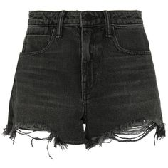 Alexander Wang Bite High Rise Frayed Aged Shorts ($200) ❤ liked on Polyvore featuring shorts, bottoms, pants, grey, grey high waisted shorts, high-waisted shorts, high rise shorts, zipper shorts and cut-off shorts