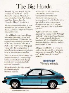 1978 Honda Accord Hatchback original vintage advertisement. With a transverse mounted engine, fold down rear seats, AM/FM radio, rear wiper/washer and electric defrost. Honda. We make it simple.