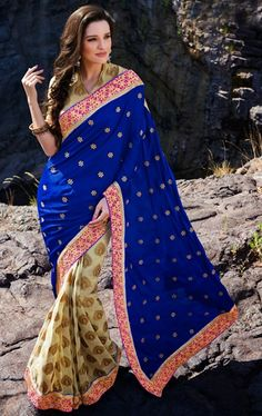 Picture of Angelic Blue and Cream Color Indian Designer Saree Online