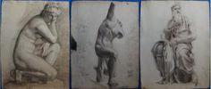 Arthur GUENIOT (1866-1951) Trois étude de sculpture dont le Moïse de Michel Ange et deux études d'après l'Antique, (c. 1891-92) Dessins à la mine de plomb et à l'estompe sur papier vergé 62 x 48 cm Non signés Bon état général, défauts en bord de feuillet Sainte Therese De Lisieux, Art Ancien, Statue, Renaissance, Sculpture, Painting, Michael Angelo, Drawings, Paper