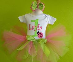 Lime Green n Pink Ladybug Birthday Girls Tutu Outfit