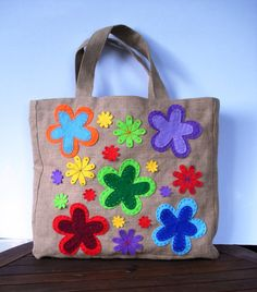 Summer bag  Eco friendly  Jute tote handbag / by Apopsis on Etsy