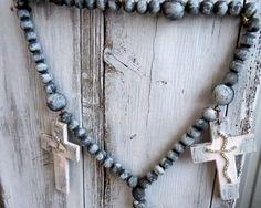 Rosary beads, rosary chain, wooden rosary, wall art rosary, rosary ring, hand made rosary, religious wall decor, homemade wall rosary by ChippedPaints on Etsy