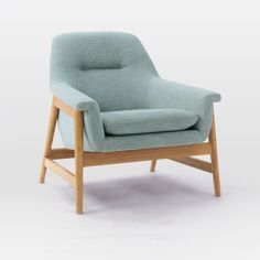 Theo Chair, Yarn Dyed Linen Weave, Seafoam (Natural Oak Legs)