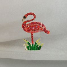 Vintage Pink Flamingo Brooch Red Rhinestones Bird Pin by waalaa, $19.99