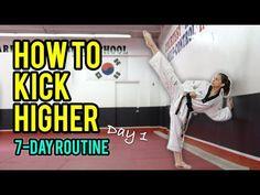 How to Kick Higher: Stretches & Drills (Day 1 Routine) 7 Day Workout, Mma Workout, Boxing Workout, Taekwondo Girl, Taekwondo Techniques, Martial Arts Techniques, Martial Arts Workout, Martial Arts Training, Martial Arts