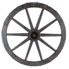 Black Wooden Wagon Wheel Wall Decor