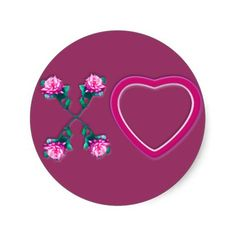 """Hearts & Roses X's & O's Round Sticker- Available in 2 sizes Large: 3"""" in diameter (6 per sheet) Small: 1.5"""" in diameter (20 per sheet) High quality, full-color, full-bleed printing Scratch-resistant front, easy peel-and-stick back No minimum order - 1.5"""" - $5.75; 3"""" - $5.75"""