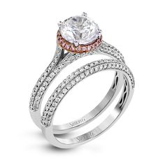 Simon G - Modern and sculptural, this wedding set is crafted from 18k white and rose gold and contains .54 ctw of white diamonds and .08 ctw of pink diamonds. Print Page