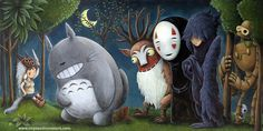 Studio Ghibli (Hayao Miyazaki) / Where The Wild Things Are tribute (Maurice Sendak)  Left to Right: Princess Mononoke, Totoro, the Deer God (from Princess Mononoke), No Face (Spirited Away), Howl (Howl's Moving Castle), Automaton (Laputa: Castle in the Sky) (©2012 Justin Hillgrove)