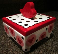 Big Red Heart Valentines or wedding whimsical ceramic one of a kind lidded box