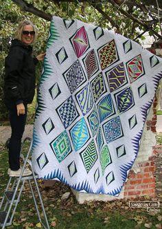 Empire Place in Tonga Batiks - Sassafras Lane Designs Sewing Tips, Sewing Hacks, Picnic Blanket, Outdoor Blanket, Quilt Border, Tonga, Paper Piecing, Quilt Blocks, Fiber Art