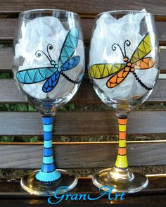 Dragonfly Wine Glass Orange Dragonfly Hand Painted Wine by GranArt