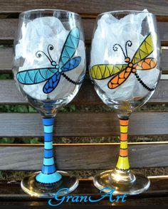 Libellule verre à vin Orange libellule à la main peint par GranArt                                                                                                                                                                                 Plus