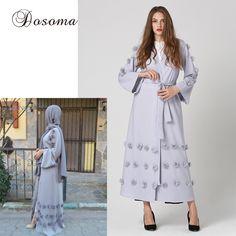 Elegant Muslim Women Abaya Maxi Dress Cardigan Jilbab Loose Style Middle East Long Robe Gowns Arab Ramadan Arab Islamic Clothing #Islamic clothing Dress With Cardigan, Shirt Dress, Islamic Clothing, Muslim Women, Flower Dresses, Middle East, Ramadan, Gowns, Elegant
