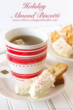 Holiday Almond Biscotti is simple to make and adorably festive!  by www.whatscookingwithruthie.com #recipe #cookies #holidays