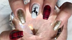 Plaid Christmas Nails done with Canni Gel Paint/Amore White Gold & Beauty Bigbang Stamping Gel Nail Art Designs, Nail Designs Pictures, Fingernail Designs, Colorful Nail Designs, Nails Design, Christmas Shellac Nails, Red Christmas Nails, Christmas Nail Designs, Plaid Christmas