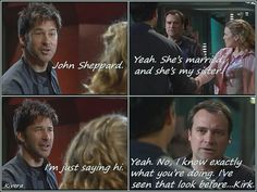 "I loved this line but John saying ""I'm just saying hi"" will ALWAYS make me think of Capt. Jack Harkness, not Kirk. :)"
