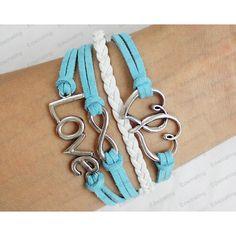 silver love Bracelet - leather bracelets blue rope Cross Love Infinity... ($8.99) ❤ liked on Polyvore