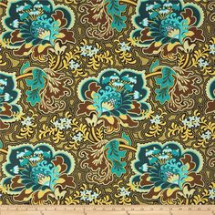 Amy Butler Belle Gothic Rose Turquoise from @fabricdotcom  Designed by Amy Butler for Westminster Fabrics, this cotton print is perfect for quilting, apparel and home décor accents. Colors include turquoise, brown, tan, yellow, teal, and light blue.