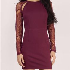 Tobi Burgandy Midi Dress In excellent condition only wore once. Tags are not attached. **Fast Shipping** Tobi Dresses Midi