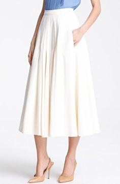 Oscar de la Renta Pleated Jacquard Skirt