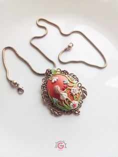 Victorian Style pendant Polymer Clay by GinaCarrascoHandmade, $42.00