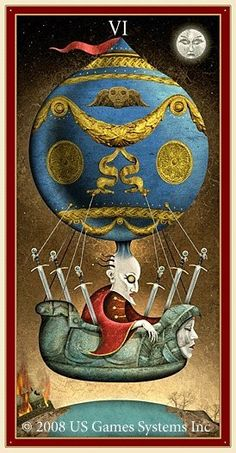 Six of Swords - DEVIANT MOON TAROT,  -- pinned using BrowserBliss