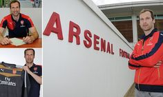 Petr Cech poses with Arsenal shirt after sealing move from Chelsea