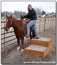Permanent Mounting block....this is a great idea, but I do not like the narrowness of the area for the horse. It is an accident with the riders leg caught in the fence. Nevertheless a good idea.
