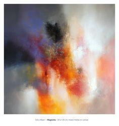 Eelco Maan I Magnolia, mixed media on canvas, 120 x 120 cm. SOLD