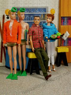 1960's Kens about to go snorkeling at Barbie's pool party at Tammy's house by Hey Sailor Greetings