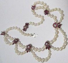 14k Gold Pearl Diamond Ruby Necklace Festoon Bib Antique 1940's