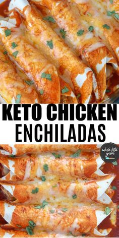 Making keto chicken enchiladas with low carb tortillas lets you enjoy a keto Mexican dinner no one will know is keto friendly! The low carb enchiladas each have 8 net carbs per serving. Healthy Low Carb Recipes, Low Carb Dinner Recipes, Ketogenic Recipes, Keto Dinner, Low Carb Keto, Diet Recipes, Ketogenic Diet, Dessert Recipes, Soup Recipes