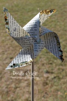 Doodle Craft...: Upcycled Book Page Glitter Pinwheels!