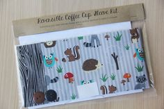 DIY Coffee Cup Sleeve Sewing Kit - Forest Animals and Faux Bois - Ready to Ship by CraftyStaci