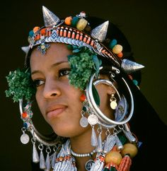 Africa | Amazigh (Berber) woman dressed for the celebration of Moussem. | Location: Tarhjijt, Morrocco