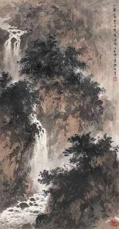 傅抱石-山高水长 by China Online Museum - Chinese Art Galleries Asian Landscape, Chinese Landscape Painting, Landscape Drawings, Japanese Painting, Oil Painting Abstract, Chinese Painting, Landscape Paintings, Waterfall Drawing, Art Chinois