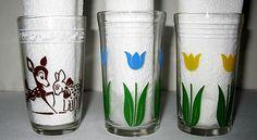 KRAFT SWANKY SWIGS SET OF 3 KIDDIE KUP JUICE GLASSES ca 1930-50