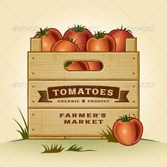 Retro Crate Of Tomatoes - Food Objects