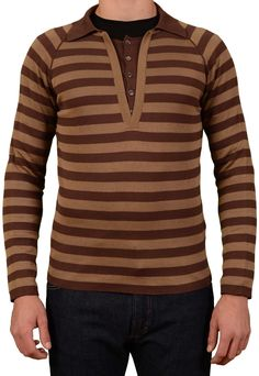 SALVATORE FERRAGAMO Brown Striped Cotton Polo Sweater NEW Size EU 48 US S