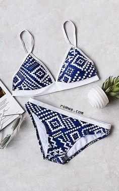 Blue Geometric Print Triangle Bikini Set