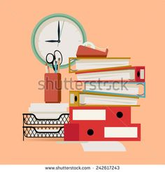 Vector modern flat design illustration on office papers, folders and stationery featuring wall clock, documents tray and more - stock vector
