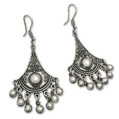 Egyptian Earrings in carved silver