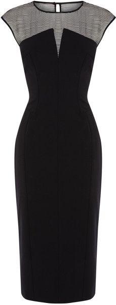 Karen Millen Black Silk Panelled Shift Dress