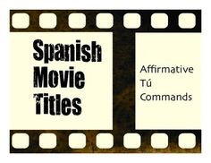 A great five-minute movie title warm up activity to help your students review affirmative t commands in Spanish!Some movie titles your students will know some are from the 1920s! Some are kid movies, some are horror movies, and some are comedies. So I'm not recommending that anyone watch the movies! :) But they make a great warm up activity to translate the titles and they can be a great conversational starting point to look at language in an authentic context.If you enjoy this activity…