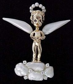 RUSER 14k Gold, Diamond & Pearl Cherub Pin