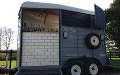 An Ifor Williams trailer has been converted into a bar by Decanter Events of Worcestershire Catering Van, Catering Trailer, Food Trailer, Coffee Carts, Coffee Truck, Converted Horse Trailer, Horse Box Conversion, Pizza Vans, Prosecco Van